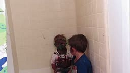 Cute little boys Paint their faces