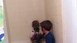 Cute little boys Paint their faces