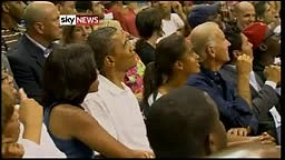 Barack and Michelle Obama Caught on the Kiss Cam