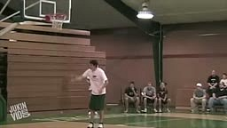Dunk Contest Fail! Guy Gets Caught in the Net after Hanging on the rim