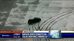 Car Does Donuts at mall parking lot in the SNOW!