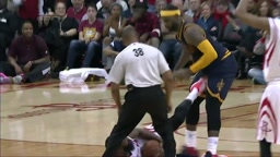 WTH! WATCH James Harden KICK LeBron James in the Groin