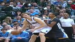 Shaun Livingston Hits Dirk Nowitzki in the Balls