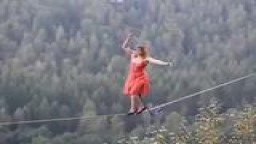 OMG!!! Watch This Woman DANCE  on A TIghtRope In 4 INCH STILETTO HEELS 300 ft HIGH!