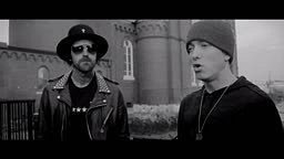 Eminem and YelaWolf chopping it up on the Best Friend set.
