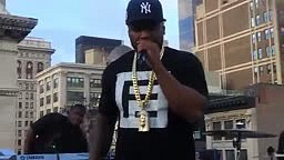 50 Cent DEBUTS a new track titled '9 SHOTS' LIVE in NYC. [Street King Immortal]