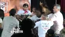 FIGHT! Sugar Shane Mosley's GF bends over during press conference and Mayorga Slaps Her Butt