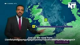 Weatherman calmly and correctly pronounces the name of Llanfairpwllgwyngyllgogerychwyrndrobwllllantysiliogogogoch