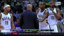 Milwaukee Bucks Coach Jason Kidd goes GANGSTA and SLAPS Ball out the Referees Hand