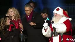 President Obama Dances with Santa Claus