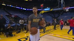 CUTE!! Stephen Curry Invites Young Boy to Try His Pregame Dribbling Routine