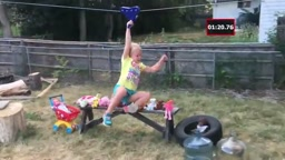 Dad makes American Ninja Warrior course for his daughter