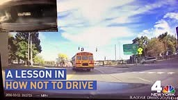 This is what happened when a man tried to pass a school bus on the right
