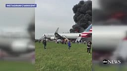 Outside View of Burning American Airlines Flight 383