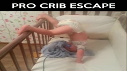 Baby shows professional crib escape