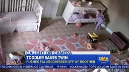 Dresser falls on toddler and his twin brother saves the day
