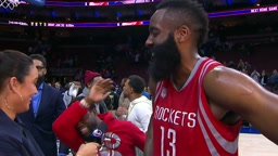 Kevin Hart and Meek Mill Crashes James Harden's Hou vs Philly Postgame Interview 01.27.17