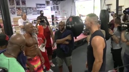 Wladimir Klitschko and Shannon Briggs ALMOST get in FIGHT in front of Evander Holyfield and Michael Moorer