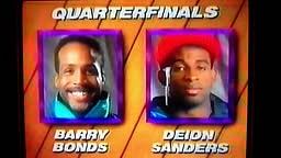 Barry Bonds vs. Deion Sanders Foot Locker dunk contest. 1992 Slam Fest dunking