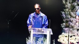 Snoop Dogg speaks at Nipsey Hussle Memorial Staples Center