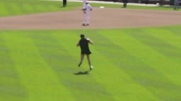 BATMAN RUNS ON FIELD AT ORIOLES OPENER