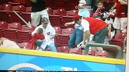 Fan Tries to Catch HR Ball While Holding Baby