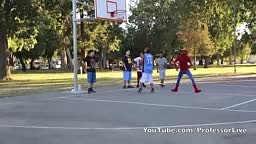 Spiderman Plays Basketball and Schools EVERYBODY