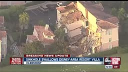 Sinkhole swallows a villa at the Summer Bay Resort in Clermo