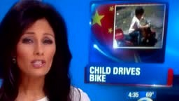 Child Drives Bike Into Traffic Escapes being hit by 2 buses