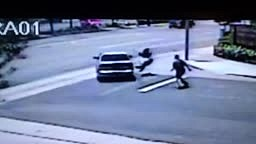 Spanish girl runs over black guy with car