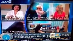 Greek TV Party Spokesman Slaps Woman Three Times