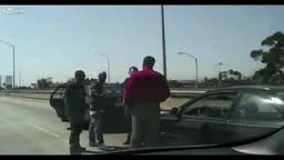 Road rage beating Black Guy vs Mexicans LA Highway
