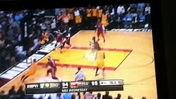 CHEATING??? Lebron James NO CALL PUSH on Paul George 3 Point Attempt Heat vs Pacers 12-18-13