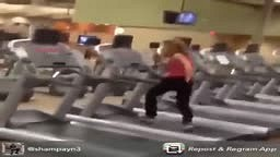 Lady Does Stunts While Riding Treadmill